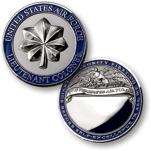 Lieutenant Colonel Air Force Engravable Coin