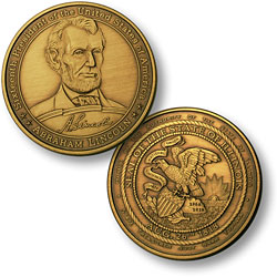 Abraham Lincoln - Illinois Seal Bronze Antique