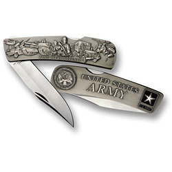 Army Lockback Knife - Large Nickel Antique