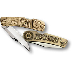 Air Force Lockback Knife - Small Bronze Antique