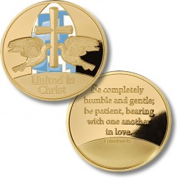 United in Christ Wedding Medallion - Doves - MerlinGold® with Enamel