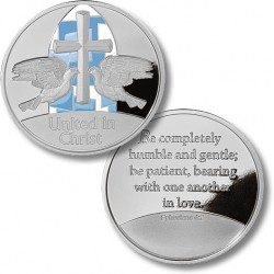 United in Christ Wedding Medallion - Doves - Proof-like Nickel with Enamel