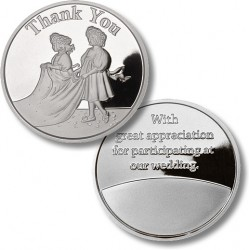 Thank You - Bridal Train - Wedding Medallion - Proof-like Nickel