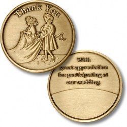 Thank You - Bridal Train - Wedding Medallion - Bronze Antique