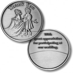 Thank You - Bridal Train - Wedding Medallion - Nickel Antique