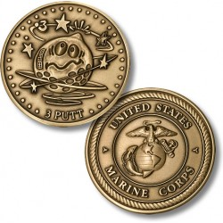 Golf Coins Plus 3 Putt - Marine Corps - Bronze Antique