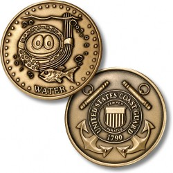 Golf Coins Plus Water - Coast Guard - Bronze Antique