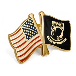 United States and POW-MIA Crossed Flags Lapel Pin