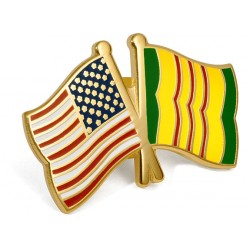 US - Vietnam Campaign Crossed Flags Lapel Pin