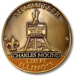 Summiteer Hiking Stick Medallion - Charles Mound, Illinois