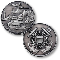 "Coast Guard Theme - USCG 1 7/8"" Nickel Antique"