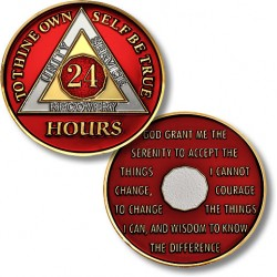 24 Hours - AA Proof-like Bronze with Tri-Plate - Gold, Nickel, and Red Enamel - 1⅜""