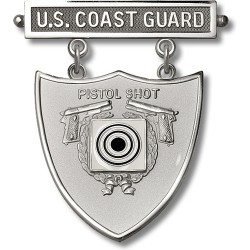 Coast Guard Pistol Shot Excellence-In-Competition Badge - Silver