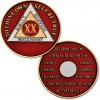 20 Year - AA Proof-like Bronze with Tri-Plate - Gold, Nickel, and Red Enamel - 1⅜""