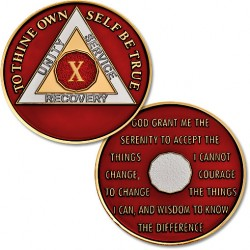 10 Year - AA Proof-like Bronze with Tri-Plate - Gold, Nickel, and Red Enamel - 1 1/2""