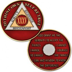 35 Year - AA Proof-like Bronze with Tri-Plate - Gold, Nickel, and Red Enamel - 1 1/2""