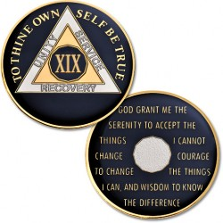 19 Year - AA Proof-Like Bronze Tri-Plate – Gold, Nickel, and Blue Enamel - 1 1/2""