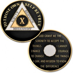 10 Year - AA Proof-Like Bronze with Tri-Plate - Gold, Nickel, and Black Enamel - 1 1/2""