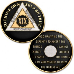 19 Year - AA Proof-Like Bronze with Tri-Plate - Gold, Nickel, and Black Enamel - 1 1/2""