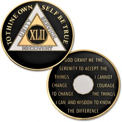 42 Year - AA Proof-Like Bronze with Tri-Plate - Gold, Nickel, and Black Enamel  - 1 1/2""