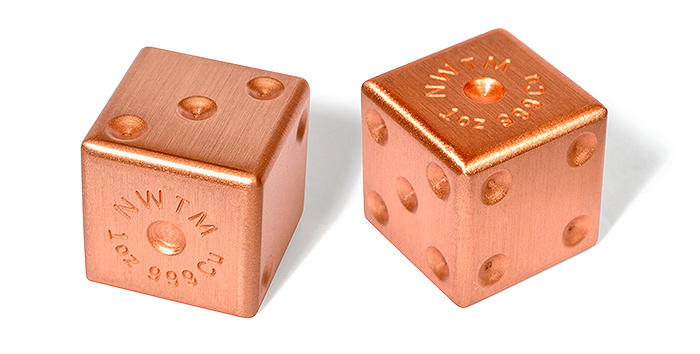 1 Pair Pure Copper Dice 1 Oz Ea
