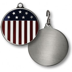 Stars and Stripes Flag Engravable Pet Tag -- 1.5 inches