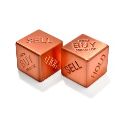 Buy, Sell, Hold - 1 Pair Solid Pure Copper Dice - 1 Oz Ea.