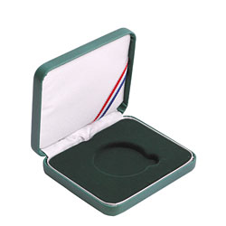 "Leatherette Presentation Box for 1 1/2"" (39mm) coin - Green"