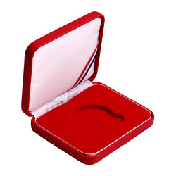 "Leatherette Presentation Box for 1 1/2"" (39mm) coin - Red"