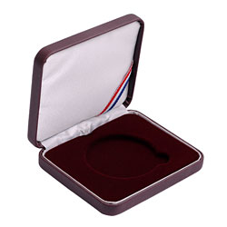 "Leatherette Presentation Box for 1 1/2"" (39mm) coin - Burgundy"
