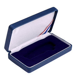 Small Lockback Leatherette Box - Blue