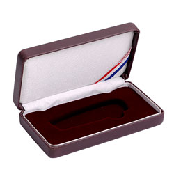 Small Lockback Leatherette Box - Burgundy