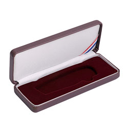Large Lockback Leatherette Box - Burgundy