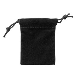 "Small 2 3/4"" x 3 1/4"" Velour Pouch - Black"