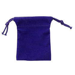 "Small 2 3/4"" x 3 1/4"" Velour Pouch - Blue"