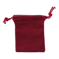 "Small 2 3/4"" x 3 1/4"" Velour Pouch - Burgundy"