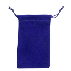 "Large 4"" x 5.5""  Velour Pouch - Blue"