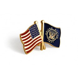 U.S. and U.S. Navy Crossed Flags Lapel Pin