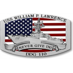 USS William P Lawrence DDG-110 Nickel Belt Buckle