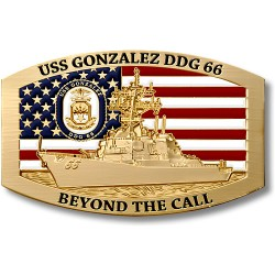 USS Gonzalez DDG-66 Belt Buckle - Bronze