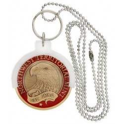 White CHAMP Coin Holder Key Ring and Neck Chain
